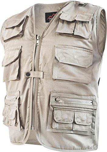 Outdoor Weste Safari mit vielen praktischen Taschen Farbe Khaki Größe XXL (Safari-jacke-khaki)