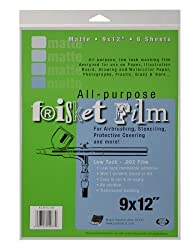Grafix All Purpose Low Tack Frisket Matte Film 9-Inch-by-12-Inch, Pack of 6