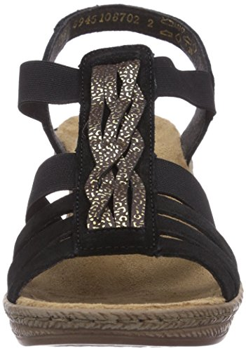 Rieker 62479/01, Sandales compensées femme Noir