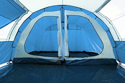 CampFeuer - Tunnelzelt mit 2 Schlafkabinen, blau/hellblau, 5000 mm Wassersäule, mit Bodenplane und versetzbarer Vorderwand - 4