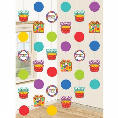 Amscan-International-Festoni-per-compleanno-con-pois-e-righe-confezione-da-6