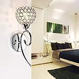 ELINKUME Moderne Europäismus Wandleuchte Wandlampe Kristalle Wandlicht Wand Leuchte 220V Für Schlafzimmer, Wohnzimmer, Diele, Esszimmer, Bett (Silber)