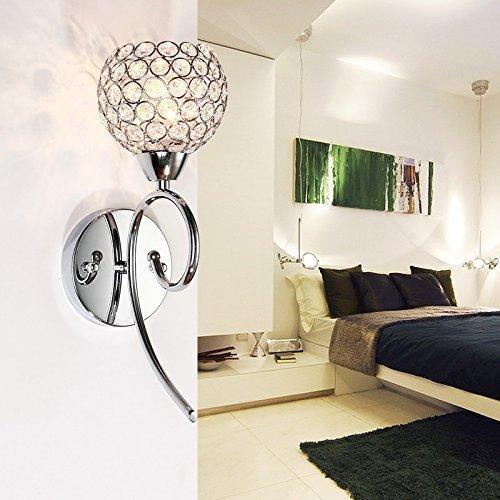 Kristall Wand Leuchte (ELINKUME Moderne Europäismus Wandleuchte Wandlampe Kristalle Wandlicht Wand Leuchte 220V Für Schlafzimmer, Wohnzimmer, Diele, Esszimmer, Bett (Silber))