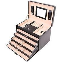 TRESKO® Caja para joyas joyero caja de joyas organizador de joyas, estuche de joyas, con cubierta protectora, de cuero sintético de alta calidad, con 4 cajones y asa, espejo cosmético incl.