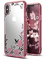 EUWLY Coque pour iPhone X,iPhone X Coque en Silicone Glitter Bling Etui Housse,Bling Bling Gliter Sparkle Coque iPhone X Transparent Bling TPU Coque pour iPhone X Ultra Mince Cristal de Diamant Case Cover Telephone Portable Soft Housse Cas Prime Flex Silicone Skin Euit de Protection Shell Coquille Couvrir Bumper pour iPhone X,Or Rose
