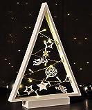 Beleuchtete Weihnacht Tannenbaum Holz Silhouette mit 15 LED warm-weiß 25x5,5x38cm batteriebetrieben