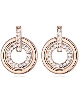 Hänge-Ohrringe mit Swarovski-Kristallen und mit 18 Karat rotvergoldet - Mit weißen Steinen