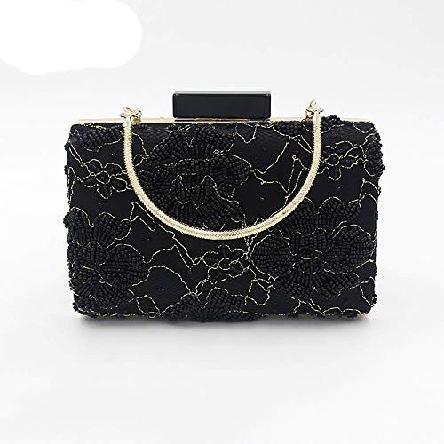 YYBAOJU Damen Abendtasche - Black Antique Floral Handgenähte Perlen Soft Clutch Abendtasche Designer Wallet Große Clutch - Antique Blazer