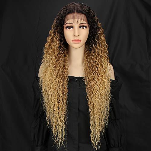 Style Icon Lace Front Perücken Wigs 71cm Curly Wellige Synthetische Perücken Für Frauen Tief mittel Teil Baby Haar Hitzebeständige Fasern Spitze Front -