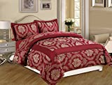 Oxford Homeware Elegant Luxurious 3 Piece highest quality Jacquard Quilted Bedspread ( Betty / King / Burgundy ) outstanding softness and smoothness as well as long lasting durability Comforter Sets Bedding Sets and Matching Curtains or Cushions are Available