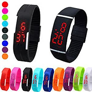 VOLTAC` ™ TPU Band Red LED Digital Unisex Watch || Pack OF 1 Watch || Random Colors Pattern #144154
