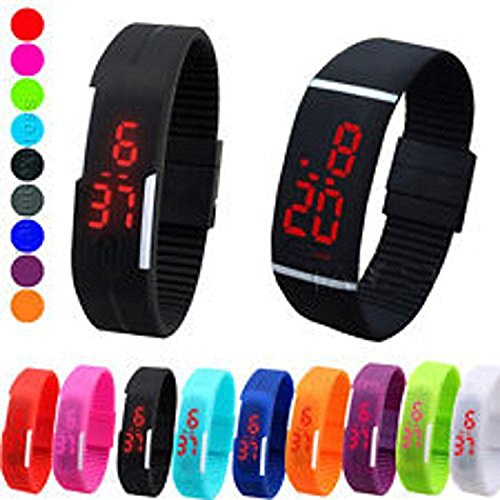 GKP Products ® TPU Band Red LED Digital Unisex Watch || Pack OF 1 Watch || Random Colors Model 404974