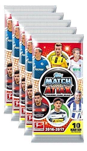 topps 105599 - topps Match Attax Bundesliga 2016/2017 - 5er Set - (5 Booster á 10 Karten/Booster = 50 Karten)