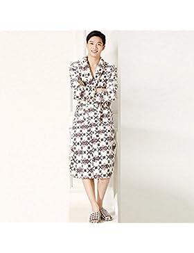 DMMSS Gli uomini accappatoio Coral Fleece Robe imbottito caldo camicia da notte in autunno e inverno flanella...