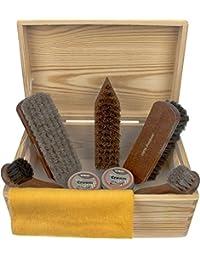 Zapato Cuidado Pinewood Caja -Milano- Premium 100% Crin de caballo Cepillos y TRG zapato Crema Profesional zapato Brillante Kit - FSC 100%