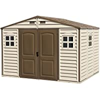 Duramax (30214-1) 10 x 8 Feet V2 Wood Side Vinyl Shed - Ivory/Brown