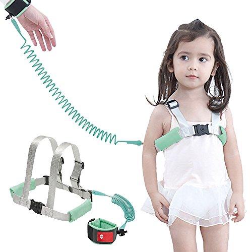 Gürtel Wrist Link Baby Kleinkind Sicherheit Laufgeschirr mit Leine Childs Kinder Assistent Strap + Sicherheit Wristband, 2M (1 Pack, Grün) (Kleinkind Angel Wings)