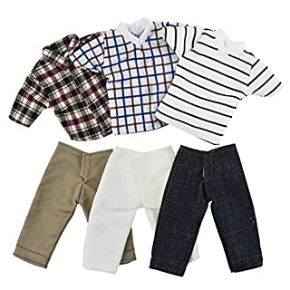 Asiv 3 Sets Plaid Jacket Pants Clothes for Ken Fashionista Doll, Girls Christmas Birthday Gift