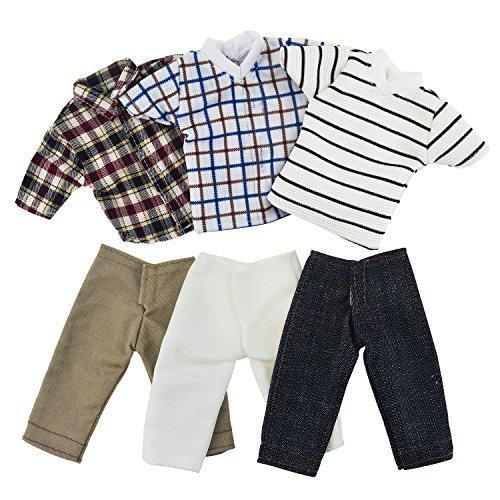 Asiv 3 Sets Plaid Kleidung Jacke Hosen Outfit für Ken Fashionista Puppen, für Weihnachten Geburtstagsgeschenk - Barbie-party Ken
