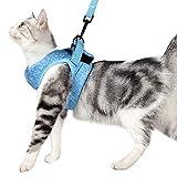 Katzengeschirr und Leine Set mit ultraleichtem Kätzchenhalsband, weich und bequem, Laufjacke, Laufdämpfung, entweichsicher, geeignet für Welpen, Kaninchen mit...