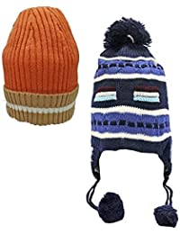 53c3ac8014f Babeezworld Baby Winter Woolen Warm Cap with Ear Protection (Kids Combo Pack  2)