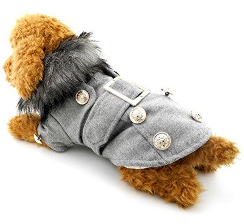 ZUNEA Warm Pet Zweireiher Pea Coat Welpen Fleece Mantel Jacke kleine Hund Katze Winter Parka Windbreaker Faux Pelz Kragen europäischen Stil grau groß (Kragen Pea Coat)