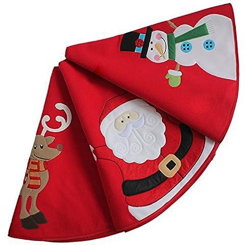 Sorrento nuovo design 90cm Natale–pupazzo di neve Babbo Natale Renna ricamo gonna albero di Natale Rosso