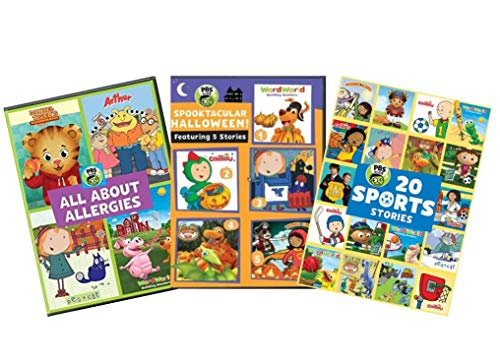 Ultimate PBS Kids Learning & Educational DVD Collection: All About Allergies/Spooktacular Halloween/20 Sports Stories [Daniel Tiger, Arthur, Peg + Cat, World World, Caillou, Dinosaur Train, Wild Krat
