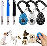 Liuer 3pcs Dog Training Whistle Silbato para Perros para Dejar de ladrar Barking Deterrents Obedience Dog Behavioural Aids Ultrasonidos Frecuencias Ajustables con 3PCS Clicker de adiestramiento