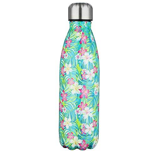 SEPT MIRACLE Sept miracolo tenere caldo e freddo in acciaio INOX colorato Water Bottle thermos ermetica doppia parete tazze di sport (500 ml) (Fiore)