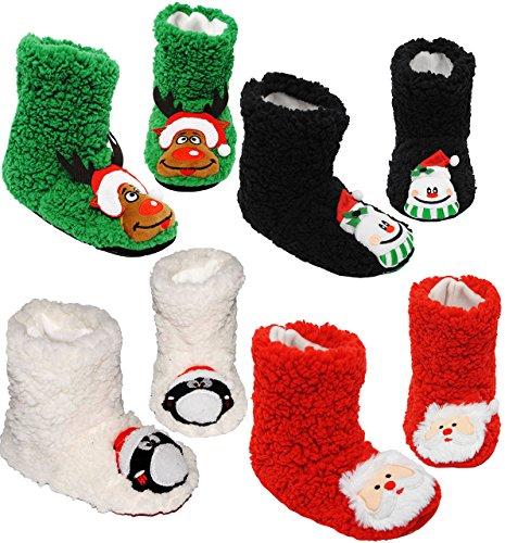 alles-meine.de GmbH 1 Paar _ Hausschuhe / Hüttenschuhe / Pantoffel -  lustige Weihnachtsmotive  - Größe 33 - 34 __ schön warm & super weich __ Plüschhausschuh / für Kinder & Er..