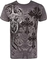 TG527T Cross,Sword and Shield Metallic Silver Embossed Short Sleeve Crew Neck Cotton Mens Fashion T-Shirt
