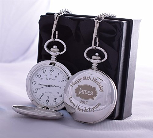 Laser Engraved Birthday Pocket Watch in Silk Gift Box