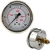 Glycerinmanometer waagerecht Ø 63 mm Chromnickelstahl / Messing, für Druck und Vakuum (Anzeigebereich: 0 - 250 bar, Ausführung: für Druck)
