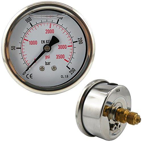 Messing-anzeige (Glycerinmanometer waagerecht Ø 63 mm Chromnickelstahl / Messing, für Druck und Vakuum (Anzeigebereich: 0 - 250 bar, Ausführung: für Druck))