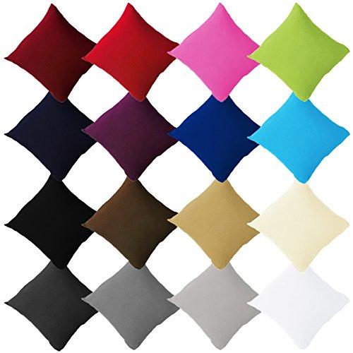 Buymax - 2er Pack Jersey Kissenbezüge mit Reißverschluss aus 100{9f33737042a0270fea0f0568983ea3239b664773e1b978878ef6e29eca28a697} Baumwolle Kissenbezug Kissenhülle Set viele Größen und Farben Öko Tex, 80x80cm Aubergine Lila
