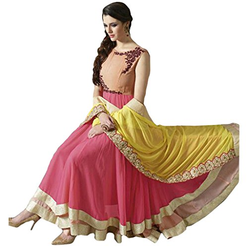 khileshwai fashion Cream & Pink COLOR LATEST INDIAN DESIGNER ANARKALI SALWAR KAMEEZ...