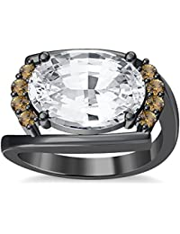 Silvernshine 4Ct Oval & Round Cut Sim Citrine Diamonds 18K Black Gold Plated Engagement Ring