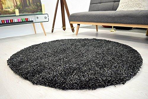 AHOC® Antracita 150cm redondo círculo liso moderno Shaggy alfombra