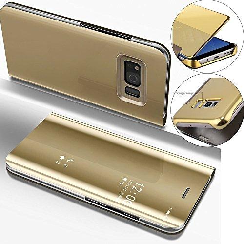 bf8fd4ff711 COTDINFOR Samsung S6 Funda Espejo Ultra Slim Ligero Flip Funda Clear View  Standing Cover Mirror PC