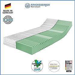 RAVENSBERGER Orthopädische | 7-Zonen-HYBRID-Kaltschaumkomfortmatratze | RG 40 Härtegrad 3 (80Kg bis 120Kg) | MADE IN GERMANY - 10 JAHRE GARANTIE | OEKO-TEX® 100 Baumwoll-Doppeltuch-Bezug | 90 x 200 cm