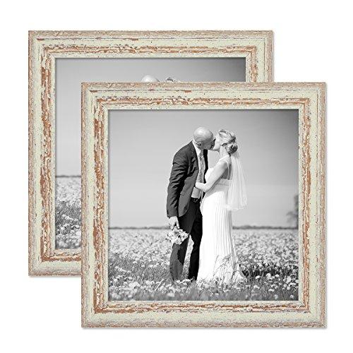 PHOTOLINI 2er Set Vintage Bilderrahmen 30x30 cm Weiss Shabby-Chic Massivholz mit Glasscheibe und Zubehör/Fotorahmen / Nostalgierahmen