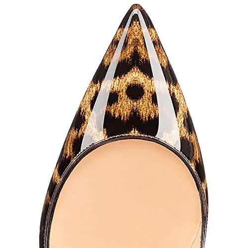 MERUMOTE , Chaussures à talon fin femme Leopard-Patent
