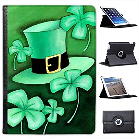 Lucky Irish Shamrock & Green Leprechaun Hat For Apple iPad Air 2 Faux Leather Folio Presenter Case Cover Bag with Stand