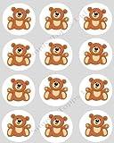 12 Teddy Bear Brown CUPCAKE TOPPERS - precut 40mm ricepaper cake decorations