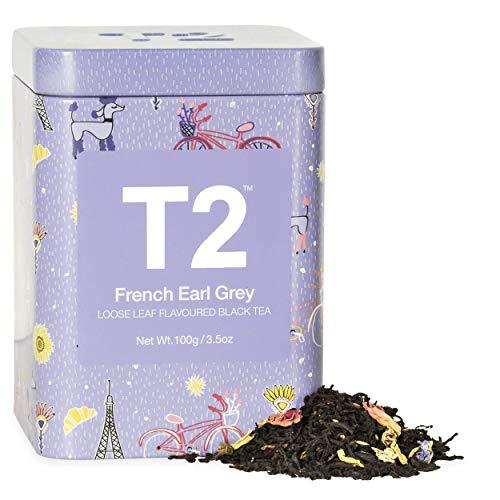 T2 Tea French Earl Grey Black Tea, Loose Leaf Black Tea in Limited Edition Tin, 100 g