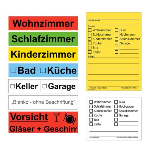Preisvergleich Produktbild 173x Umzugetiketten Mix Set Aufkleber, Beschriftung mit Etiketten vom Umzugskarton bis Möbel für den Überblick beim Umzug