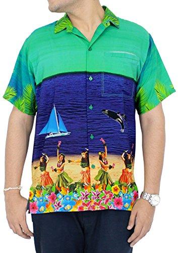 LA-LEELA-Shirt-camisa-hawaiana-Hombre-XS-5XL-Manga-corta-Delante-de-bolsillo-Impresin-hawaiana-casual-Regular-Fit-Camisa-de-Hawaii-Azul-Marino-DRT051-4XL
