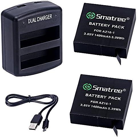 Smatree 1400mAh sostituzione della batteria (2-pack) + Dua-Channel Charger per Xiao Yi 4K Action Camera
