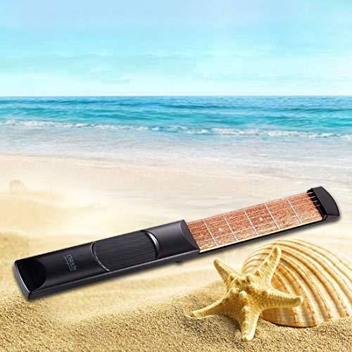 Taschengitarre 6 Fret Saiten tragbare Gitarre Praxis Tool Gadget mit Tuning-Tool für Anfänger Fingersatz Chord Trainer - Black & Wood Farbe